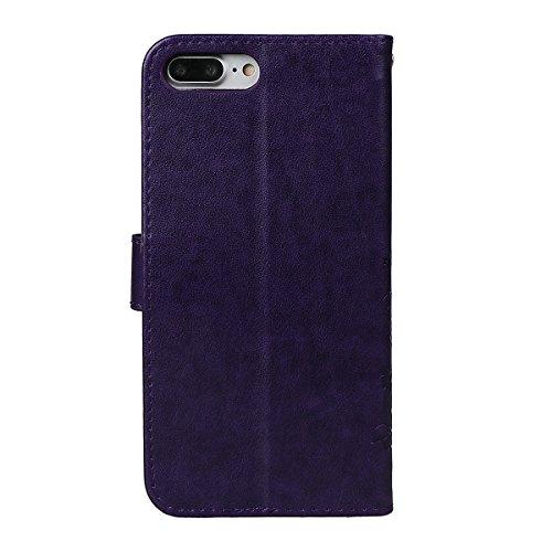 Hülle für iPhone 7/8 Plus, xhorizon Blumenschmetterling magnetische umklappbare Brieftasche Schutzhülle mit Standfunktion und Kartensteckplätzen aus geprägtem PU-Leder für iPhone 7 Plus / iPhone 8 Plu Dunkel Lila + Stylus + Staubstecker
