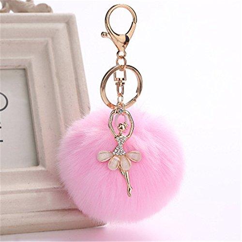 (Oyedens Schlüsselanhänger, Elegant Plüsch-Kugel Keychain Pelz Ball Dekor Handtaschenanhänger Schlüsselbund [Engel, Kätzchen, Welpen, Ananas, etc. 30 Verschiedene Formen)
