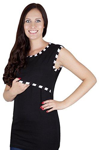 Mija - 2 en 1 Chemise maternité et de soins tricot de corps 95% coton 9056 Noir