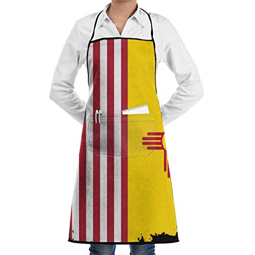 Cooking Apron New Mexico Flag American Flag Menâ€s Womenâ€s Unisex Cafe Kitchen Long Aprons Sleeveless Overalls Portable with Pocket for Cooking,Baking,Crafting,Gardening,BBQ