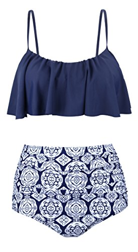 Angerella Vintage Niedlich Ruffles Strap Badeanzug Crop Top Flounce Bikini F¨¹r Frauen - Bikini Bademode Unten