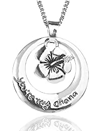 *UK* Silver-Tone Ohana Means Family Engraved Pendant Necklace 2.5cm Diamater With 18 Inch Chain Lilo And Stitch HX51DxB