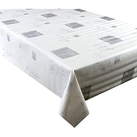 Cuadrados de plata y flores sobre fondo blanco, 2 metros (250 cm x 137 cm) vinilo/Pvc mantel, 6 plazas Tamaño, limpie con base textil, paño de tabla (163)