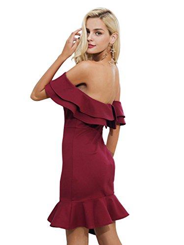 simplee abbigliamento delle donne sexy da spalla anti bodycon elegante festa cocktail mini vestito Rosso
