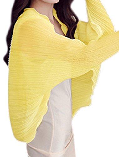 sourcingmap Femme Manches En Eventail Semi-transparente plissé Cardigan Jaune