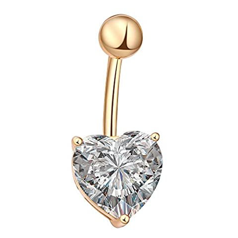 Contever® Love Heart Crystals Rhinestone Gold Pleated Sexy Belly Ring