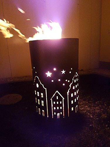 Tiko-Metalldesign Feuertonne/Feuerkorb mit Motiv Skyline