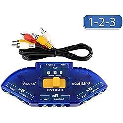 Vetrineinrete® Switch av 3 in 1 out rca commutatore audio video tv dvd consolle playstation dvd xbox giochi 123 adattatore per tv videogiochi sdoppiatore di segnale senza alimentazione C51