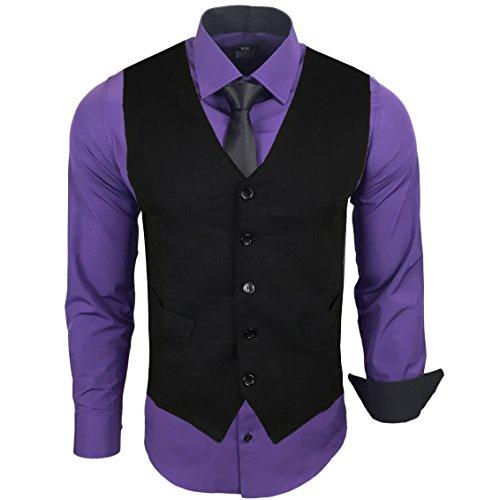 Rusty Neal Herren Anzug Weste Anzugsweste Sakko Weste Wählbar mit Hemd RN-44-HWK, Farbe:Lila;Größe:5XL