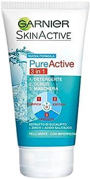 Garnier Detergente Pure Active, Azione 3 in 1, Detergente + Scrub + Maschera per Pelli Grasse o con Imperfezio