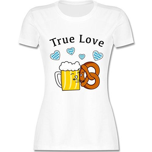 Oktoberfest Damen True Love Bier und Breze tailliertes Premium TShirt mit  Rundhalsausschnitt für Damen Weiß