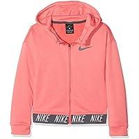 Nike G NK Dry Hoodie FZ Core Studio Sudadera, Niñas, Rosa (Sea Coral/Dark Grey), L