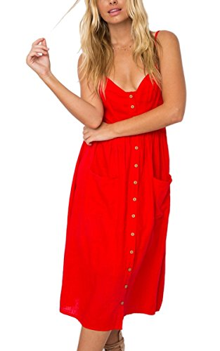 Angashion Women's Dresses-Summer V Neck Adjustable Spaghetti Strap Button Down Solid Swing Midi Dress With Pockets