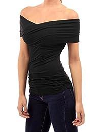 Fanessy Camiseta Mujer Hombros Descubiertos Blusa Cuello Barco Casual Elegante Oficina Mangas Cortas