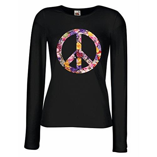 lepni.me Weibliche Langen Ärmeln T-Shirt Friedenssymbol, 60er, 70er Jahre, Hippie, Friedenszeichen Blume, Sommer, Retro, Swag (X-Large Schwarz Mehrfarben) (Retro T-shirts 70er Jahre)