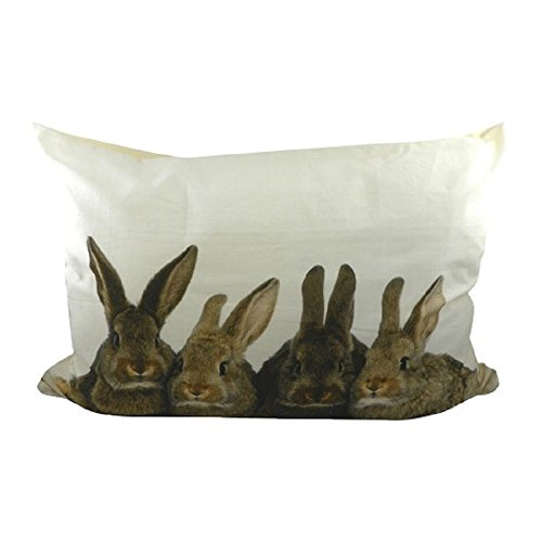 xl cushion canvas rabbits brown