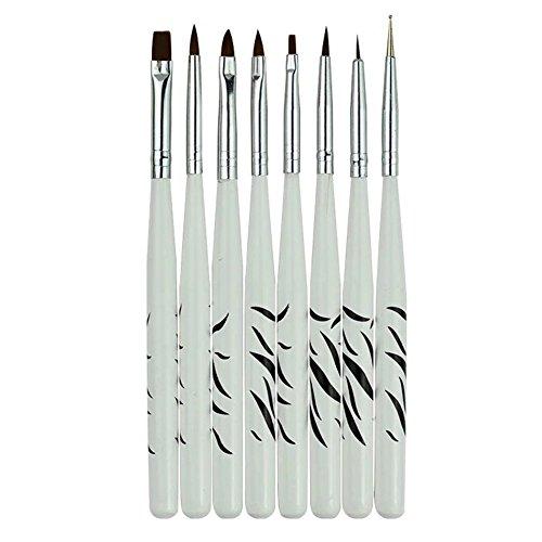 Fengh 8Nail Art Design Set Zebra Muster Dotting Malen Zeichnen polnischen Brush Pen Werkzeuge _ weiß