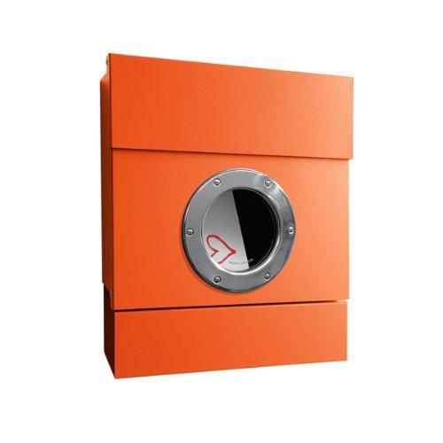 Radius - Letterman II - Briefkasten - inklusive Zeitungsrolle - Stahl verzinkt - orange - 40 x 34 x 11,5 cm