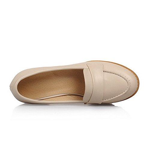 Schuhe Rein Auf Ziehen Pumps Rund Weiches Damen Zehe Farbe Material Allhqfashion Aprikosen qnWZ6aAwW