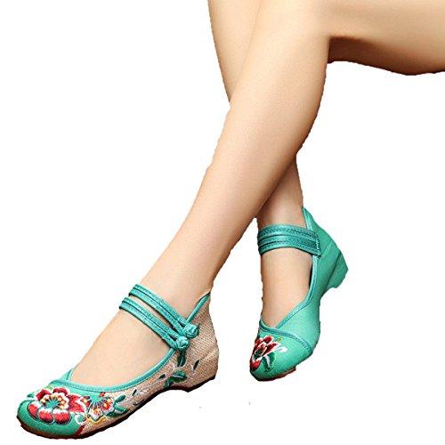 Mme Hibiscus D'été De Fleurs Pour Aider Les Chaussures Basses En Tissu Brodé CHT Green