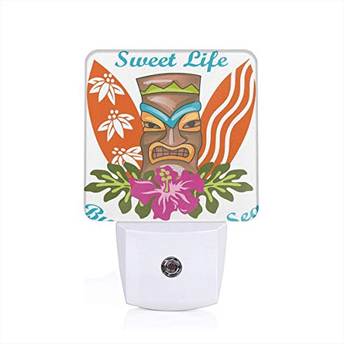 Sweet Life By The Salty Sea Text With Tiki Figure And Hibiscus Flower Print Plug-in LED Night Light Lamp with Dusk to Dawn Sensor, Night Home Decor Bed Lamp Hibiscus Night Light