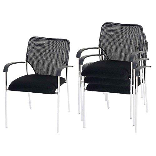 Mendler 4X Besucherstuhl Tulsa, Konferenzstuhl stapelbar, Stoff/Textil ~ Sitz schwarz, Rückenfläche schwarz
