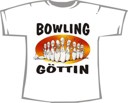 Bowling T-shirt-designs (Bowling Göttin; T-Shirt weiß, 40/42; Gr. M; Damen)