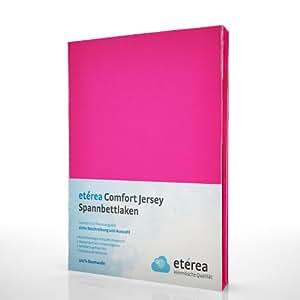 etérea Kinder Jersey Spannbettlaken - Serie Comfort - 100% Baumwolle Spannbetttuch Farbe Pink, in der Größe 60x120 - 70x140cm