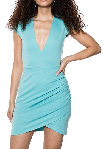 IVYREVEL Damen V Neck Wrap Dress Kleid, Blau (Light Blue 336), 40 (Herstellergröße:L) - Cross-front Mini Dress