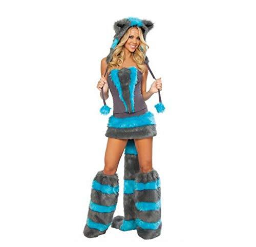 ay Film Kostüm Blau Niedlichen Tier Mädchen Bühnenkleid Erwachsene Kostüm Party Engen Dress Up Kostüm 4 Stück Set (kopfbedeckung + Top + Kurzen Rock + Schwanz + Paar Füße),Blue ()