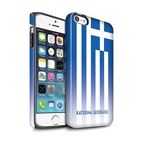 eSwish Personalisiert Individuell National Nation Flagge 3 Matte Zähen Hülle für Apple iPhone 5/5S / Griechenland/Griechisch Design/Initiale/Name/Text Stoßfest Schutzhülle/Case/Etui