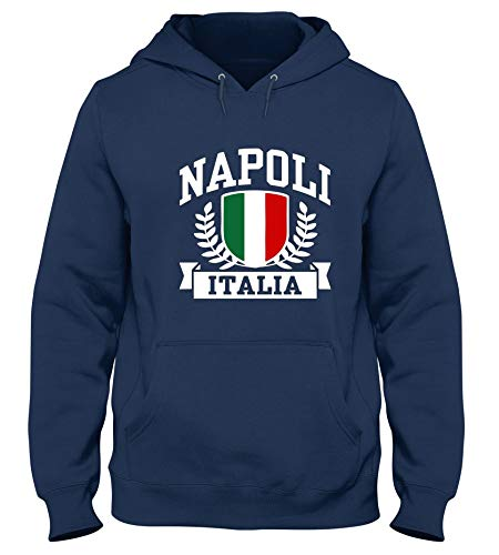 T-Shirtshock Kapuzen-Sweatshirt fur Mann Blau Navy TSTEM0274 Napoli Italia
