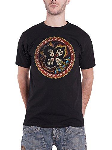 Kiss T Shirt Rock And Roll Over vintage band logo Nue offiziell Herren Schwarz (Kiss-vintage-t-shirt)