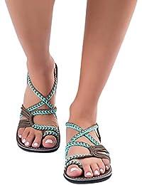 Sandali con Tacco Estivi Donna, UOMOGO? Sandali Corda a Maglia Roma Infradito estive Moda Spiaggia Pantofole (CN:36, Nero)