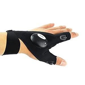 VORCOOL LED Taschenlampe Fingerlose Handschuhe Outdoor Angeln Camping Werkzeug Mehrzweckhandschuh für die Reparatur Arbeiten in der Dunkelheit (Linke Hand)
