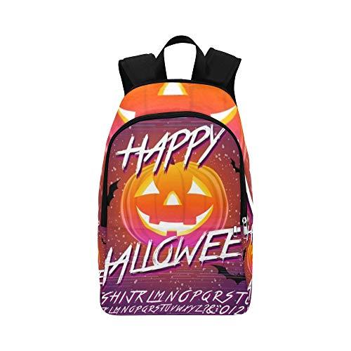 Happy Halloween typografische Kürbis Scary lässig Daypack Reisetasche College School Rucksack für Männer und Frauen