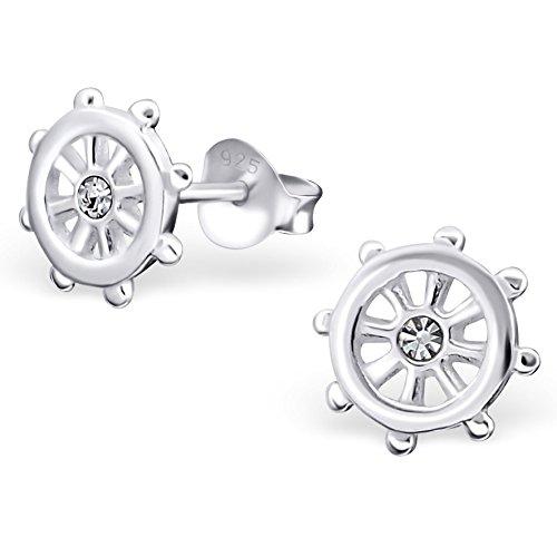 EYS JEWELRY Damen-Ohrstecker Dharma-Rad 925 Sterling Silber Zirkonia 8 x 8 mm kristall-weiß Ohrringe
