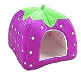 Yiiquan Haustiere Hundebett Premium Katzenhöhle Hundehütte Katzenbett Kuscheliger Erdbeere (Violett, Asia M)