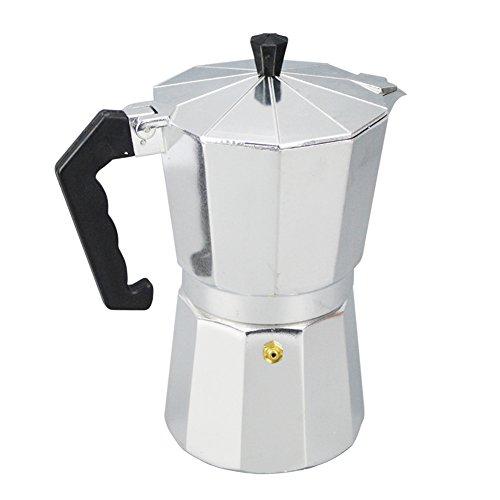 Italienische Espresso-Kaffeemaschine Werkzeug - 1/3/6/9/12 Tassen Herdplatte Kaffeekanne mit kühlem Griff Klappdeckel für Home Office Kaffee Tee Werkzeuge 600 ml silberfarben/schwarz -
