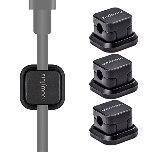 Sinjimoru Kabelhalterung, Magnetische Kabel-Clips/Kabelführung/Organisation/flexibles Kabelmanagement für Lightning-Kabel und USB Kabel. Selbstklebende magnetischer Kabelbinder, Schwarz, 3er - Kinder-tv-tisch