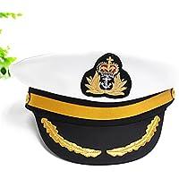 Yate Barco marinero capitán del traje del sombrero del casquillo Armada Almirante de la Marina para el adulto-White