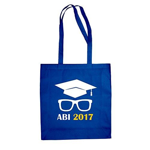Baumwolltasche - Abitur 2017 mit Doktorhut und Brille - von SHIRT DEPARTMENT royalblau-gelb