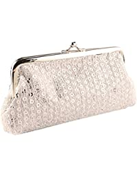 Fashion Lady Lovely Style Hasp Sequins Purse Clutch Bag Party Handbag (Silver White)