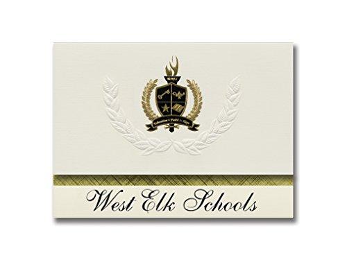 Signature-Announcements West Elk Schulen (Howard, KS) Schulabschluss, Präsidential-Stil, Grundpaket mit 25 goldfarbenen und schwarzen Metallfolienversiegelungen -