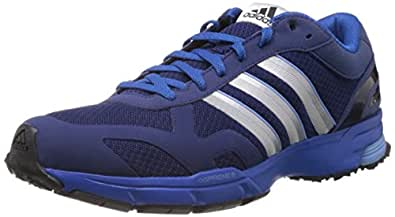 adidas Men's Marathon 10 Ng M Dark Blue and Metallic Silver Mesh Running Shoes - 8 UK