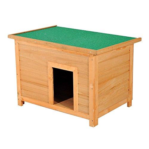 Pawhut cuccia per cani impermeabile da esterno in legno di abete, 85x58x58cm