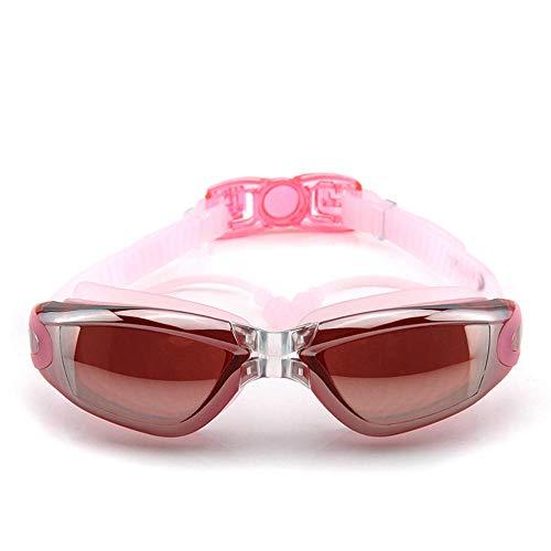 Antibeschlag-Schwimmbrille, die flaches Licht HD des großen Rahmens mit wasserdichtem Spiegel-UV-Schutz überzieht, verband die erwachsenen Männer und die jugendlichen Frauen der Ohrenstöpsel, das Rosa