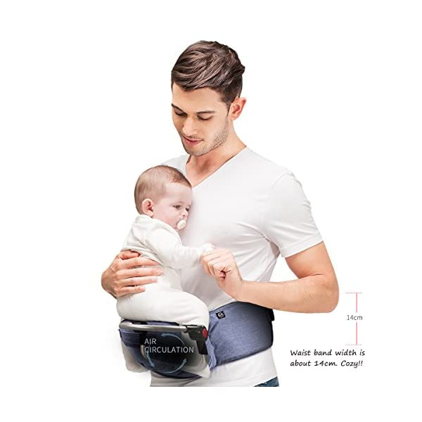 Bebamour Foldable Baby Carrier Hip Seat Baby Carrier Newborn to Toddler with Large Pockets Ergonomic Toddler Waist Seat for 0-36 Months (Light Grey) bebear ❤️Unique Designed - The baby carrier can be foldable. There is a foldable aluminum tube support in the hip seat. When you going out, you can folding the hip seat and put into the pouch easily. ❤️Two Zipper Pockets - 1 front zipper pocket can put bottles, diapers. 1 side zipper pocket fits cellphone or other small things. It is good for you to take your baby outside without bag. ❤️Three Carry Styles: Horizontal Position, Facing Inward and Facing Forward Position. Weight 33 pounds and for your baby who is 0-36 months. 6