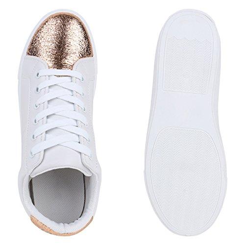 Damen Sneakers | Sneaker Low Metallic Cap | Sportschuhe Leder-Optik Glitzer | Freizeit Schnürer Prints Samt | Trainers Allyear Weiss Bronze Metallic
