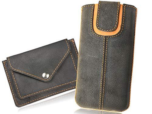 OrLine Handytasche geeignet für Alcatel Idol 3C mit Mini Geldbörse. Ledertasche Tasche Echtleder Etui Leder-Hülle (Lasche mit Rückzugfunktion Ausziehhilfe) Schutzhülle Hülle